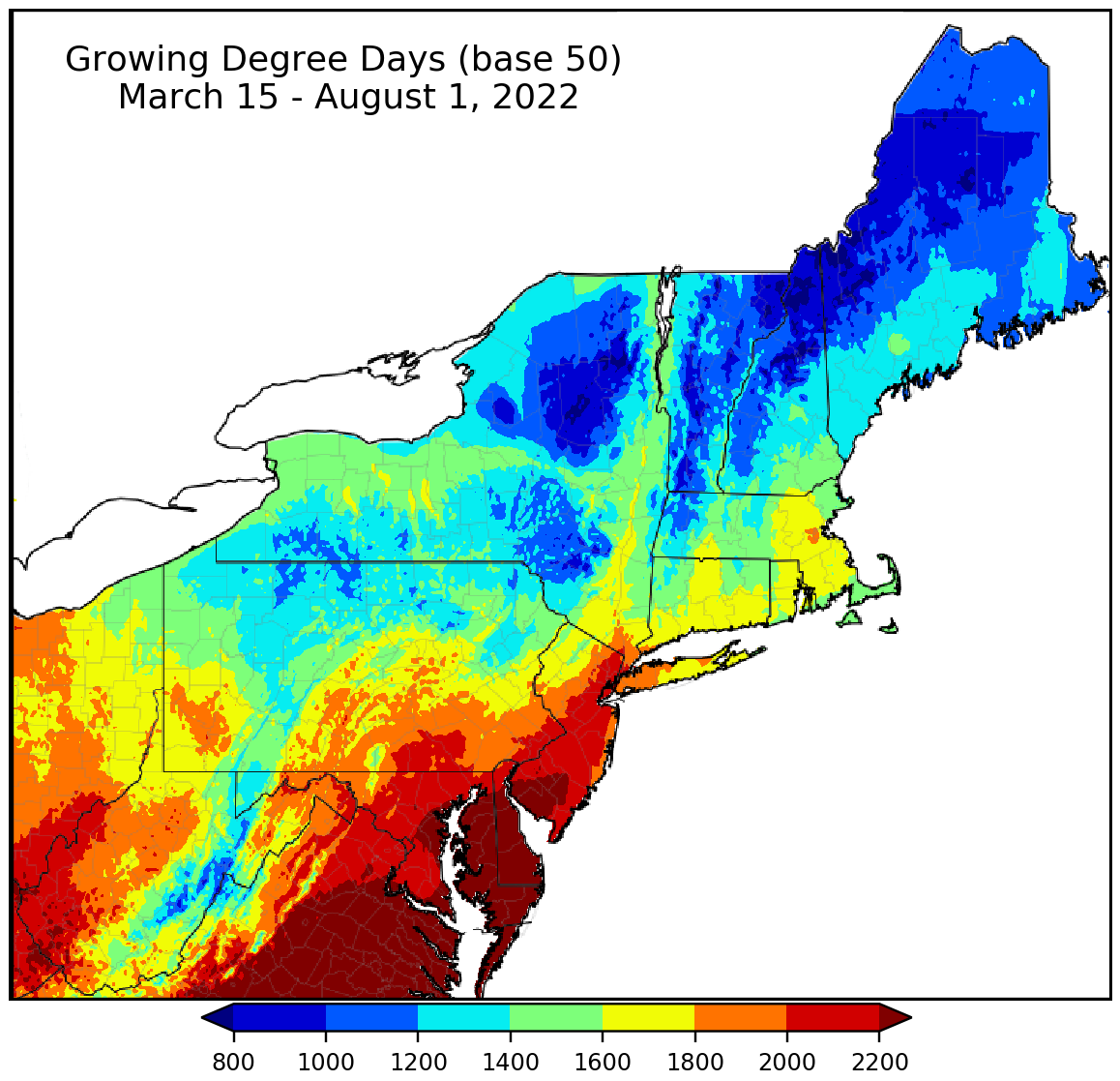 Climate Smart Farming CSF Growing Degree Day Calculator - Gdd base 50 map us