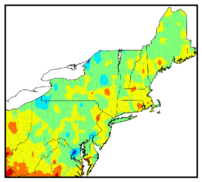 Northeast gdd difference map
