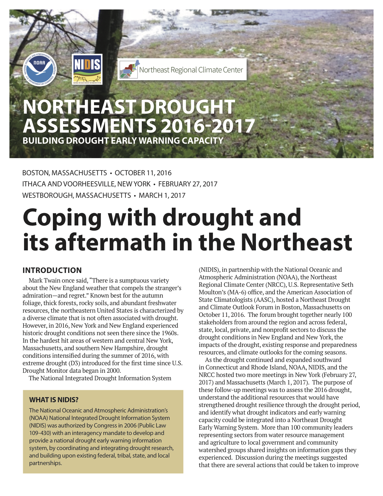 Northeast Drought Sments 2016 2017
