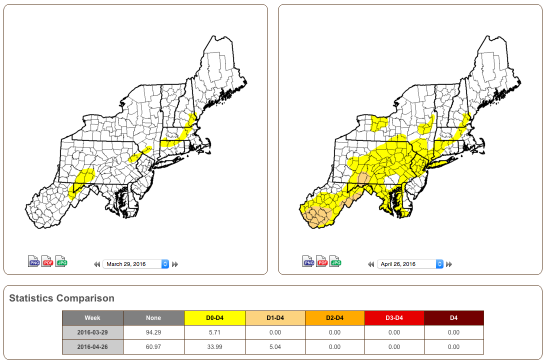 The U S Drought Monitor Released On March 31 And April 28 Show The Increase In Coverage Of Abnormal Dryness And Moderate Drought Click To Enlarge