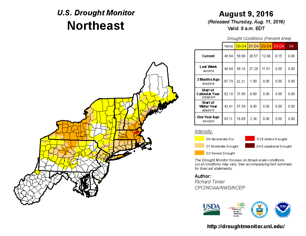 MidAugust Some Rain Still Dry - Us drought map 2016